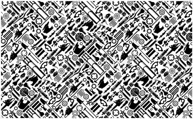 Big bike part colletion on seamless pattern royalty free illustration