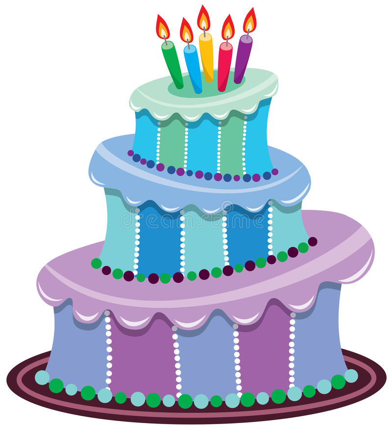 Big birthday cake. Vector illustration of big birthday cake with burning candles vector illustration