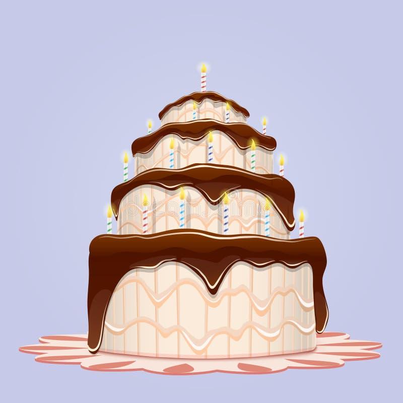 Big Birthday Cake With Candles Stock Illustration Illustration of