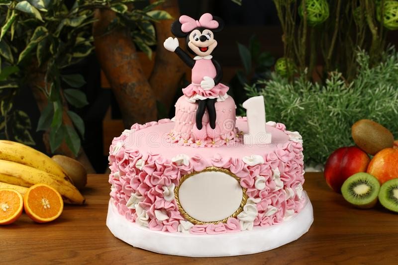 Kids birthday party cake - mickey mouse consept. Big birthday cake decorated with mickey mouse consept royalty free stock photo