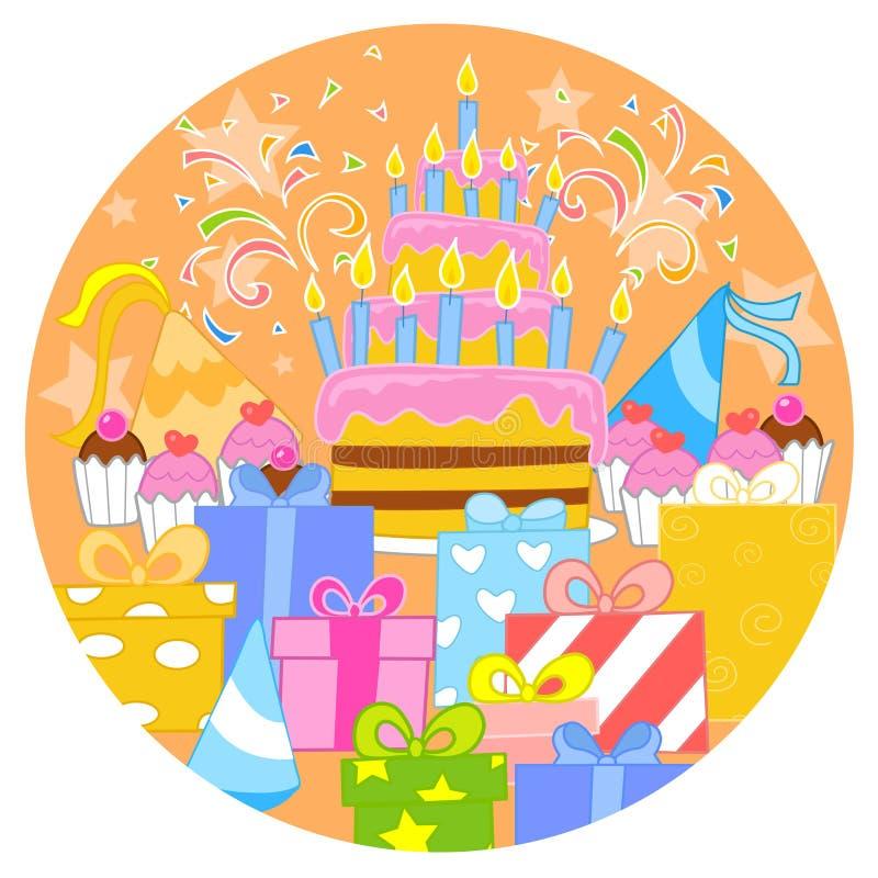 Big birthday cake and decorations stock illustration