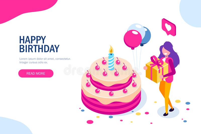Big birthday cake isometric concept. Happy girl with a gift in hand celebrates the holiday. Can use for web banner vector illustration