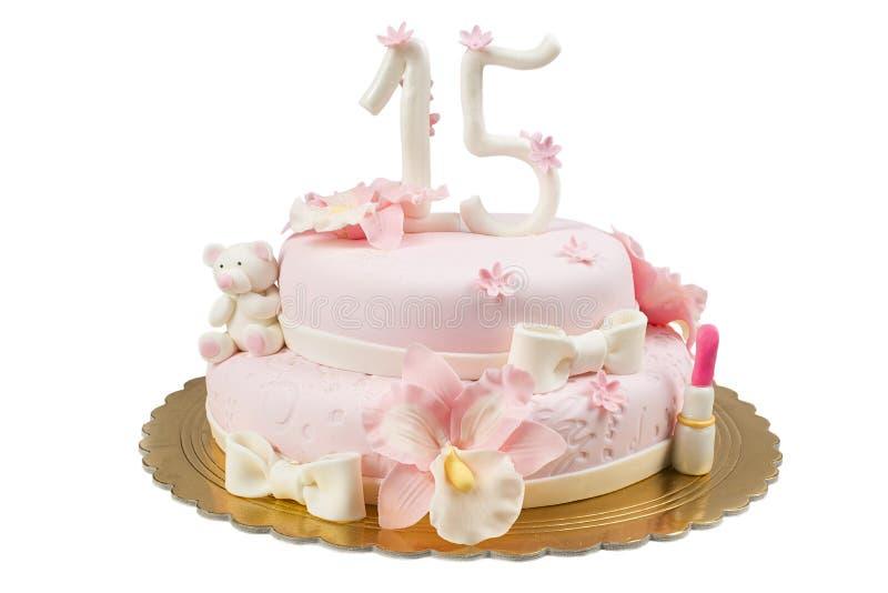 Big birthday cake. Big birthday marzipan cake with pink icing royalty free stock photography