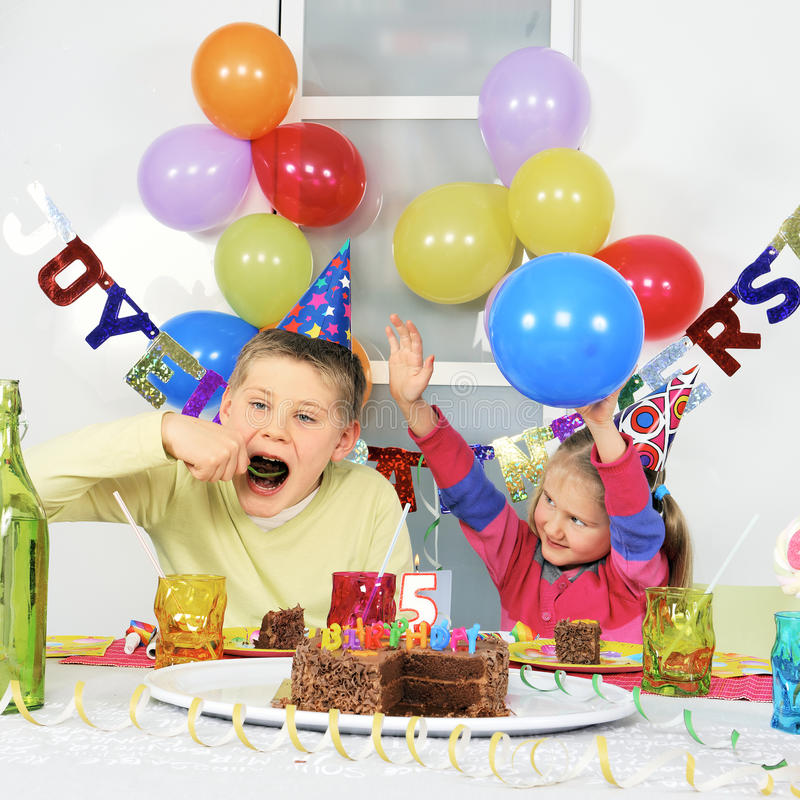 Big birthday party. Two children at big birthday party royalty free stock photo
