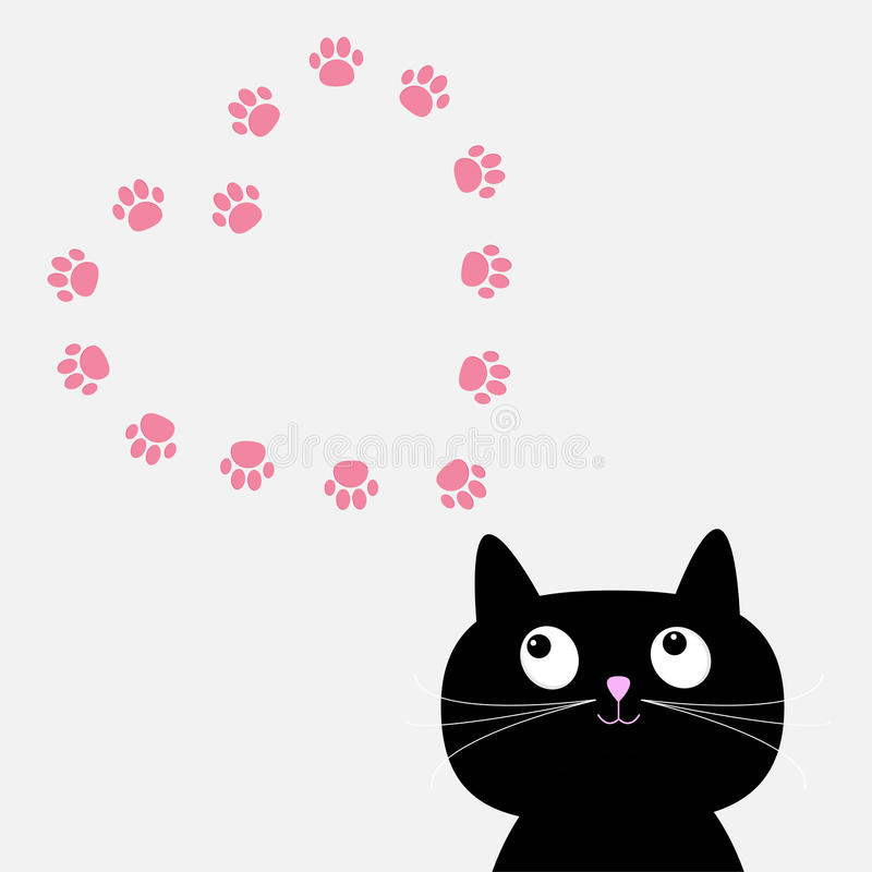 Big Black Cat And Paw Print Heart Frame Template. Flat Design. Stock ...