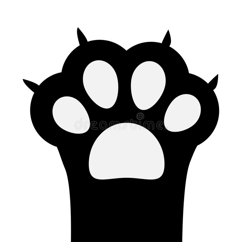 Big black cat paw print leg foot with nail claw. Cute cartoon character body part silhouette. Baby pet collection. Flat design. Is. Olated. White background stock illustration