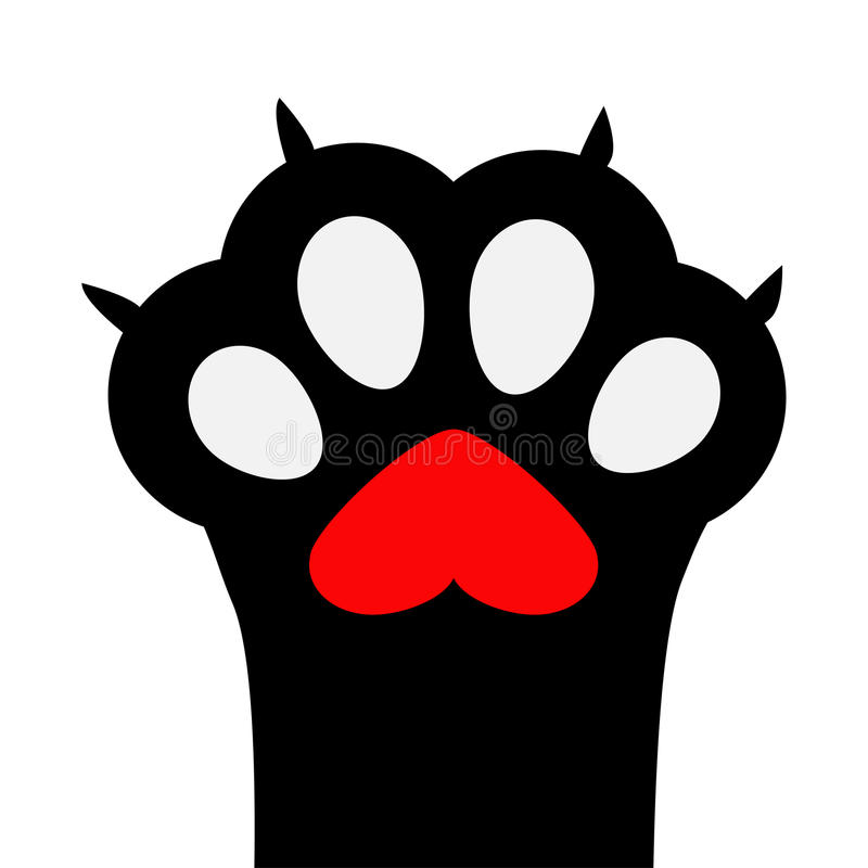 Free Big Black Cat Paw Print Leg Foot With Nail Claw. Red Heart Sign Symbol. Cute Cartoon Character Body Part Silhouette. Baby Pet Coll Stock Images - 93319894
