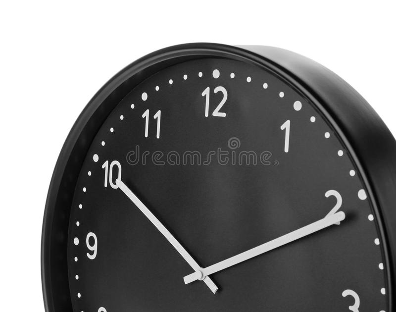 Big black clock on white background. Time change concept royalty free stock image