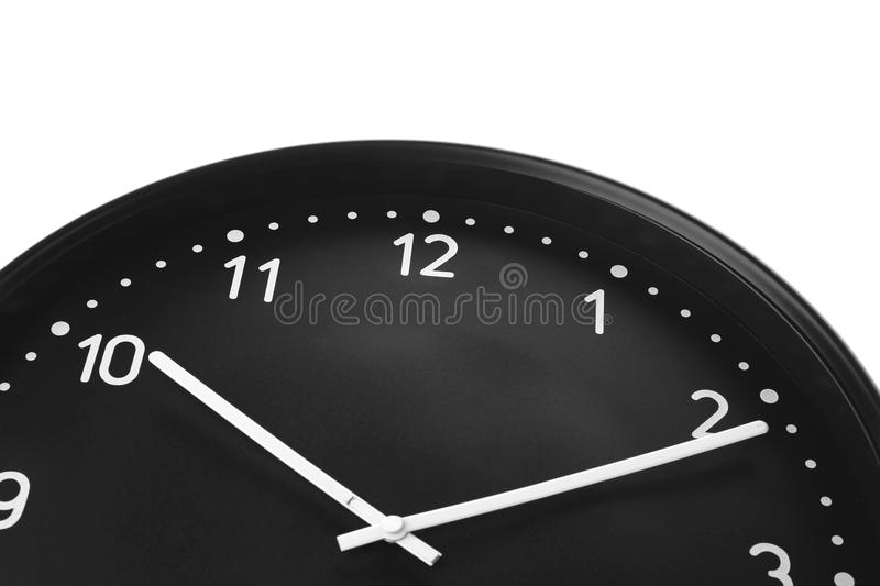 Big black clock on white background Time change concept. Big black clock on white background. Time change concept stock images