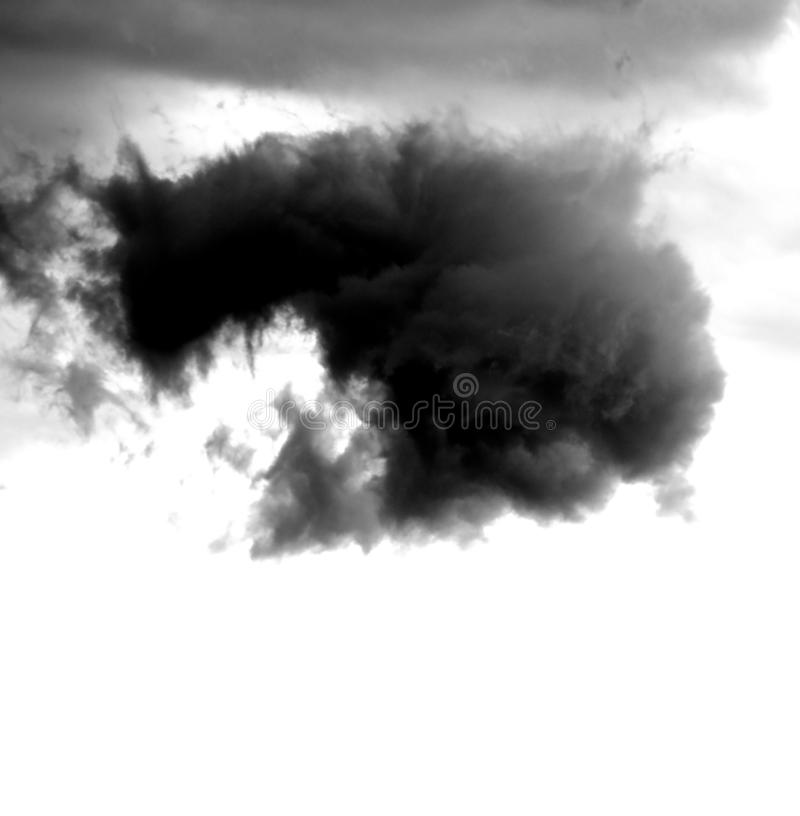 Big black cloud on the sky. And white background royalty free stock photography