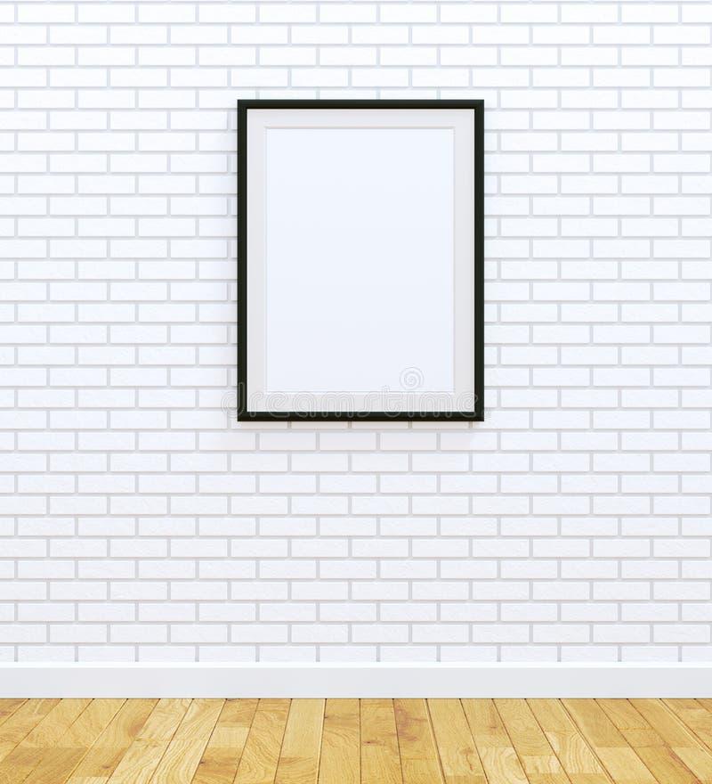 Big black frame. On white brick wall stock illustration