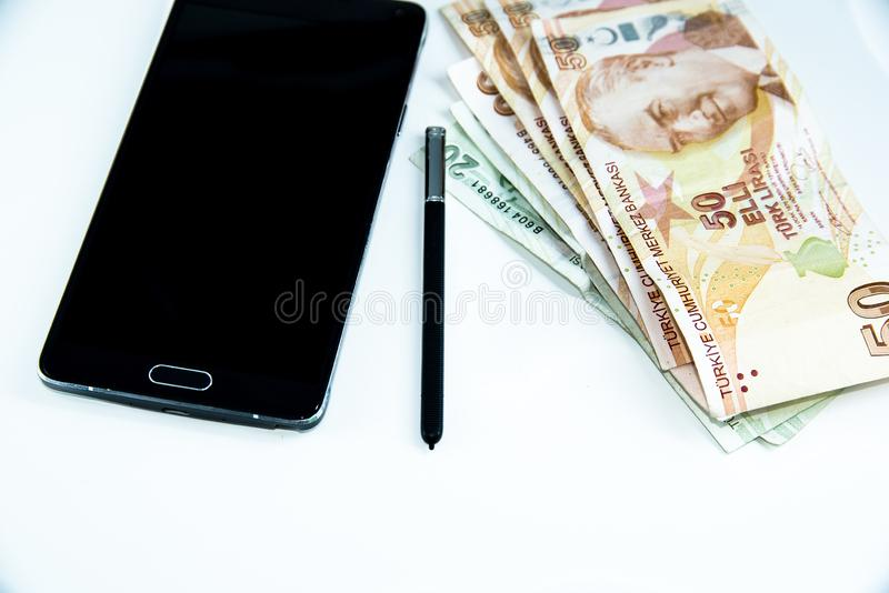 Big black smart phone with white ground royalty free stock images