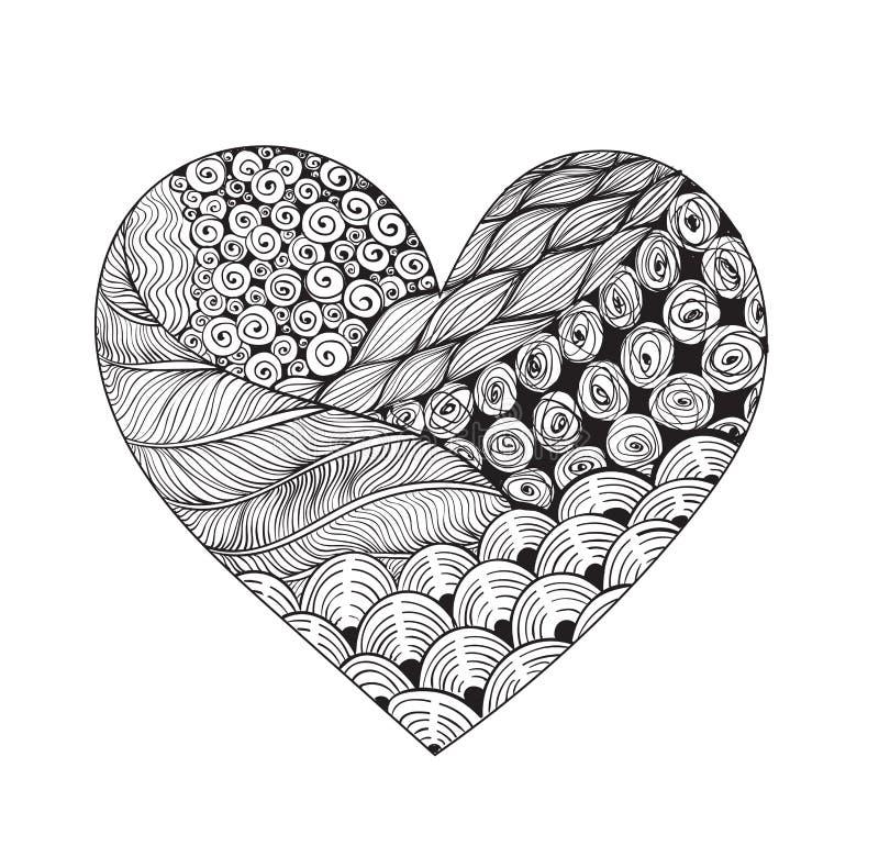 big black and white zentangle heart stock vector  image