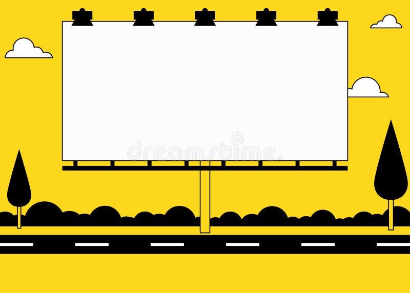 Big blank billboard on roadside. Big blank white billboard on roadside royalty free illustration