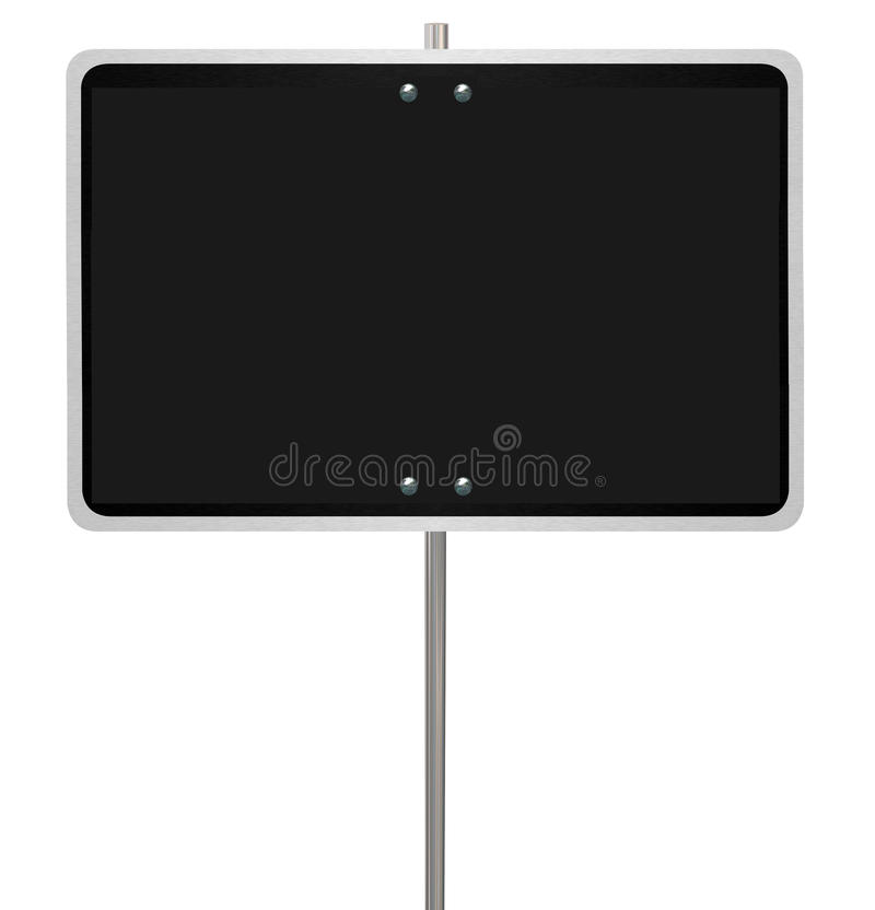 Big Blank Black Road Street Warning Sign Announcement Copy Space. Big blank black warning street or road sign with copy space to communicate your news royalty free illustration
