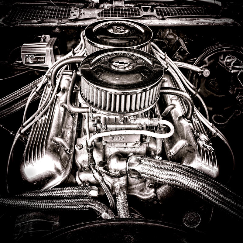 Big Block Chevrolet Engine In Vintage Muscle Car Editorial Stock ...