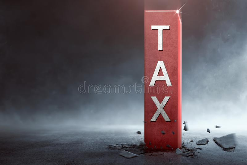 Big block with Tax text coming out from the ground royalty free stock photo