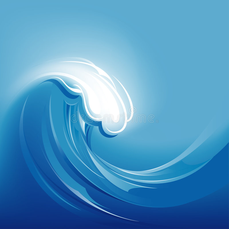 Big Blue Abstract Wave Background vector illustration