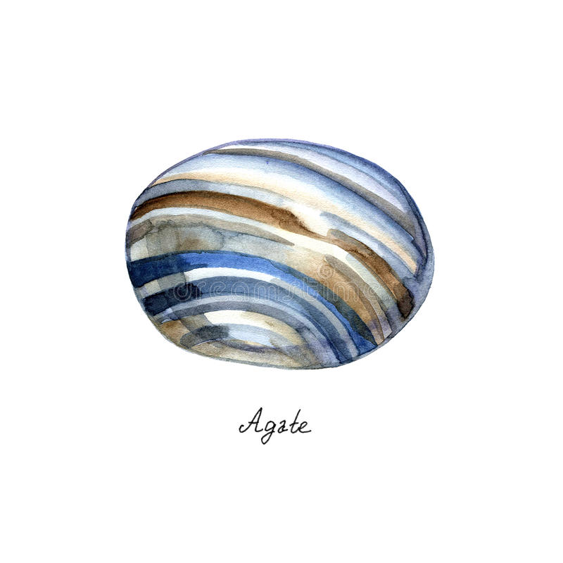 Big blue agate gem painted in watercolor on white background. Big blue agate gem painted in watercolor on white isolated background vector illustration