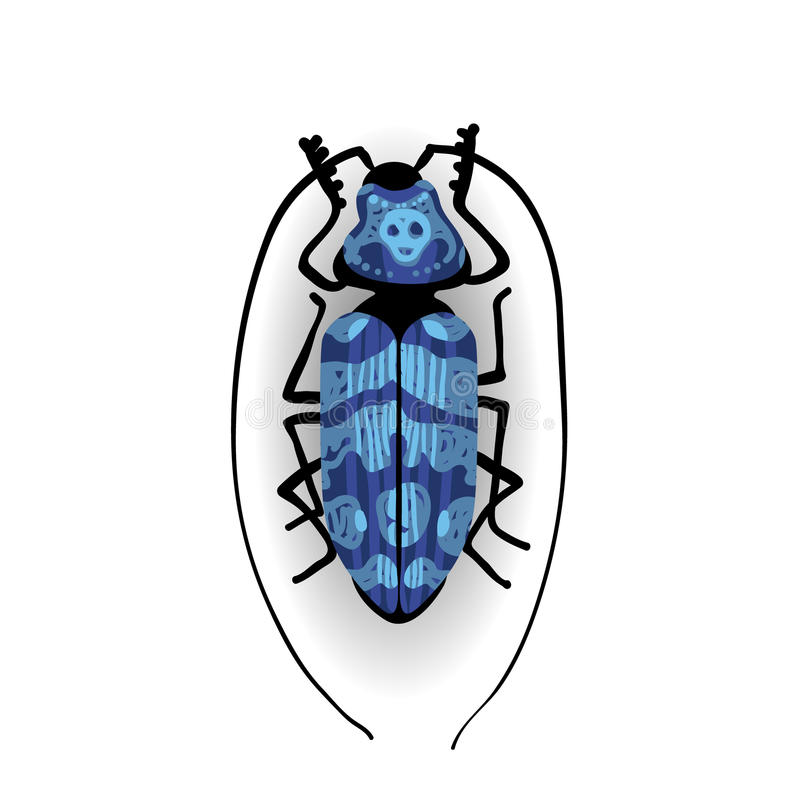 Big blue bug with long moustaches. royalty free illustration