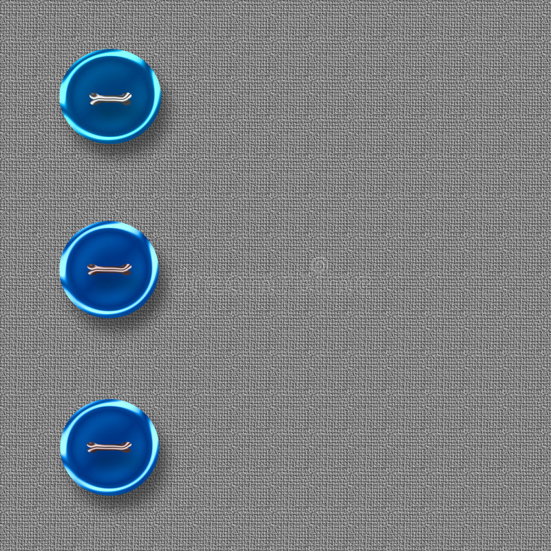 Big blue buttons. On gray tweed material illustration vector illustration