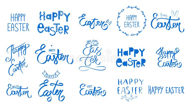 Big blue easter set. Collection Happy Easter Day handwritten sign. Spring style. April Sunday holiday. Hand drawn lettering stock illustration