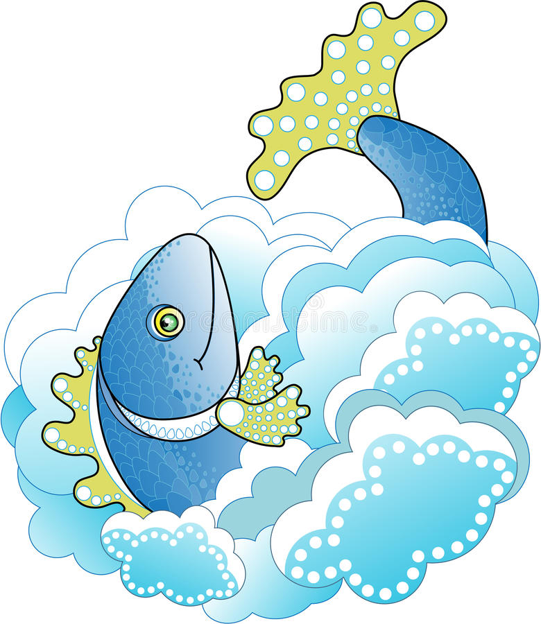 Big Blue Fish In The Sea Stock Vector Illustration Of