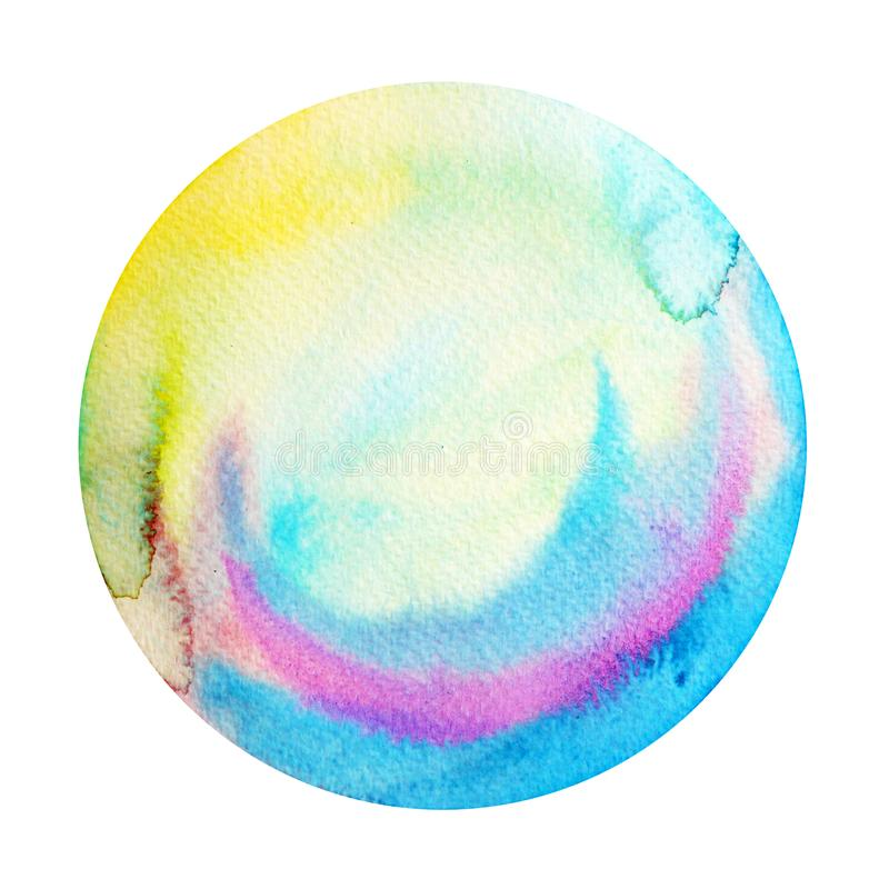 Big blue full moon round circle watercolor painting illustration stock photos