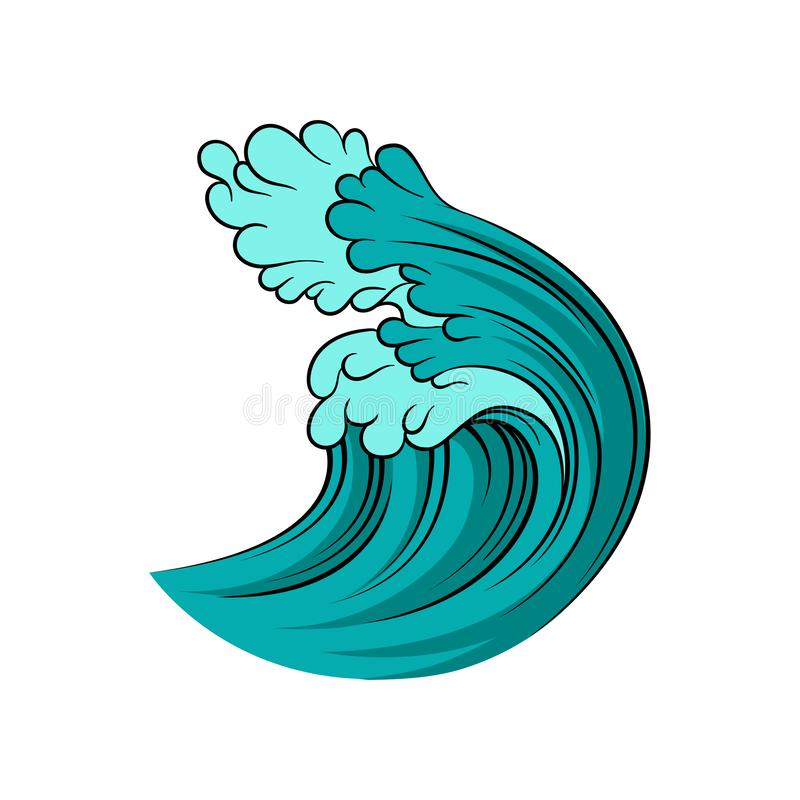 Big blue ocean wave with black outline isolated on white background. Stormy sea water. Isolated vector design vector illustration