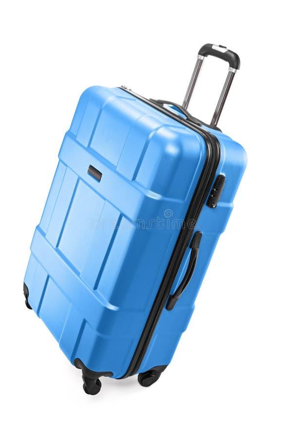 Big luggage bag. Big blue plastic luggage bag with wheels for travel royalty free stock image