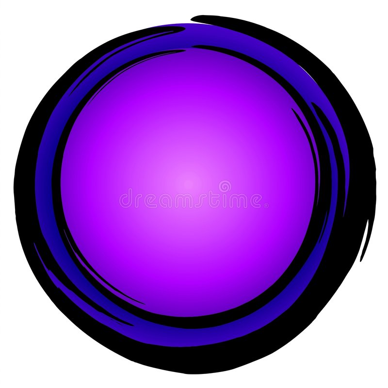 Big Blue Purple Circle Icon. A large blue and purple circle shape with ink pen border isolated on white background. Ideal for use as background, icon, buttons royalty free illustration