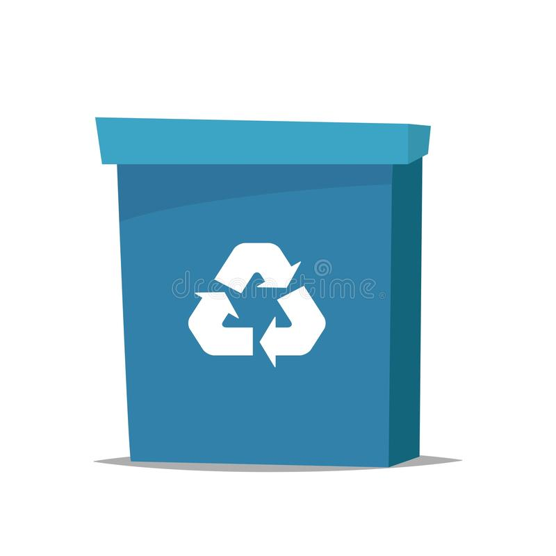 Big blue recycle garbage can with recycling symbol on it. Trash bin in cartoon style. Recycling trash can. Vector illustration.  royalty free illustration