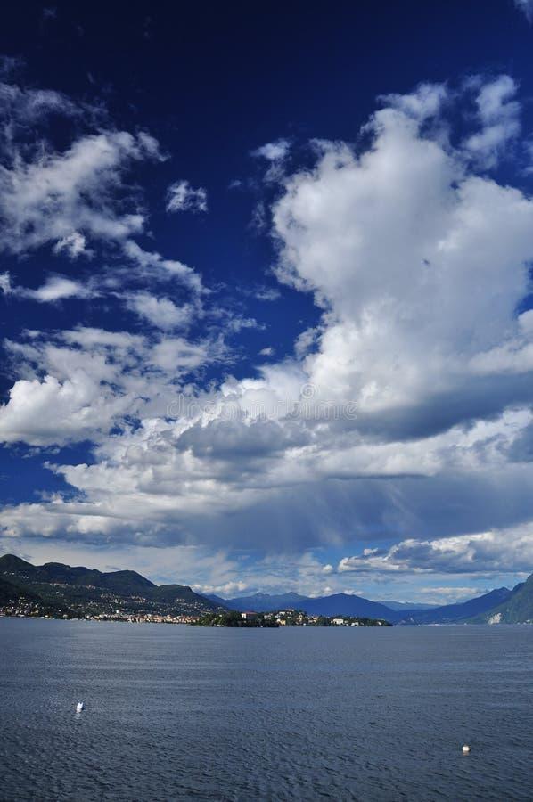 Big blue sky over Lago (Lake) Maggiore, Italy stock photo