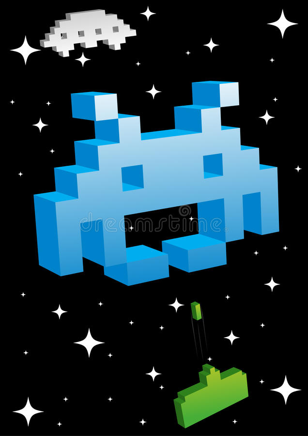 Big Blue Space Invader stock illustration