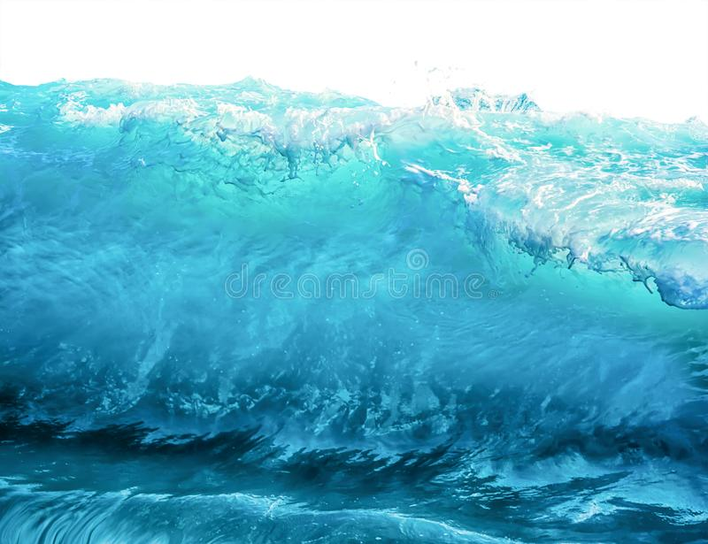 Big blue stormy sea wave isolated on white background. Climate nature concept. Front view stock image