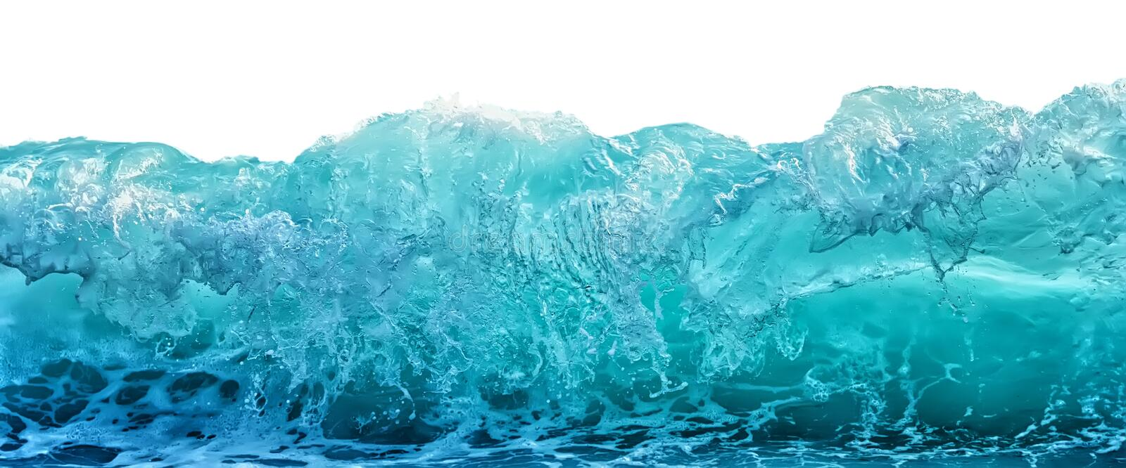 Big blue stormy sea wave isolated on white background. Climate nature concept. Front view.  royalty free stock image