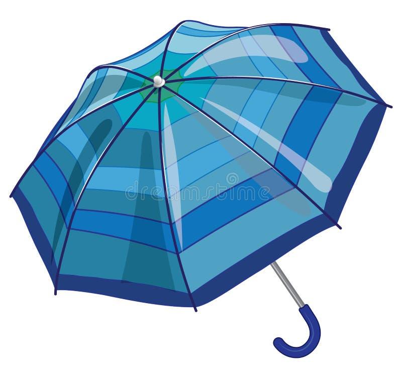 Big blue sun parasol umbrella against rain vector illustration