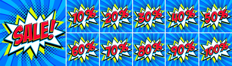 Big Blue-verkoopreeks Verkoopinschrijving en alle percentenaantallen Blauwe en rode kleuren De banners van het de stijlweb van de royalty-vrije illustratie