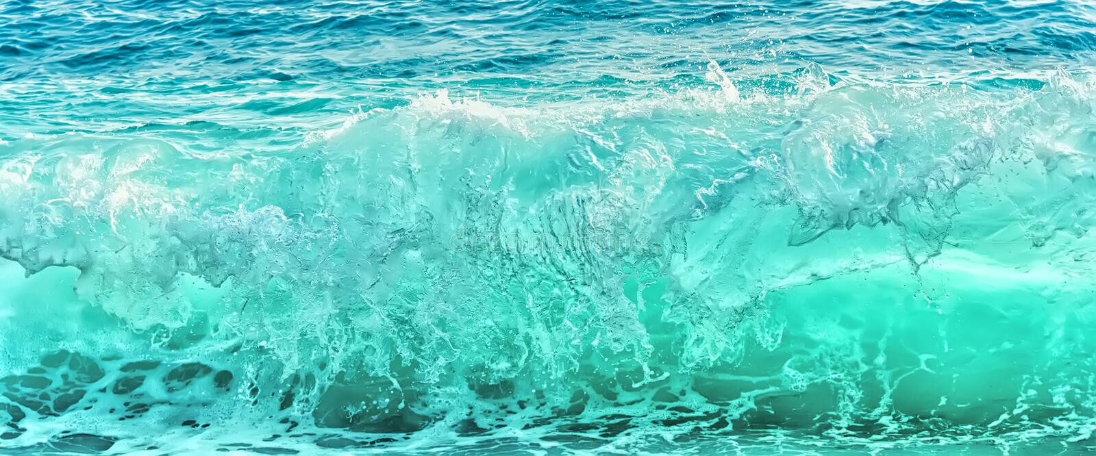 Big blue wave on stormy sea royalty free stock photo