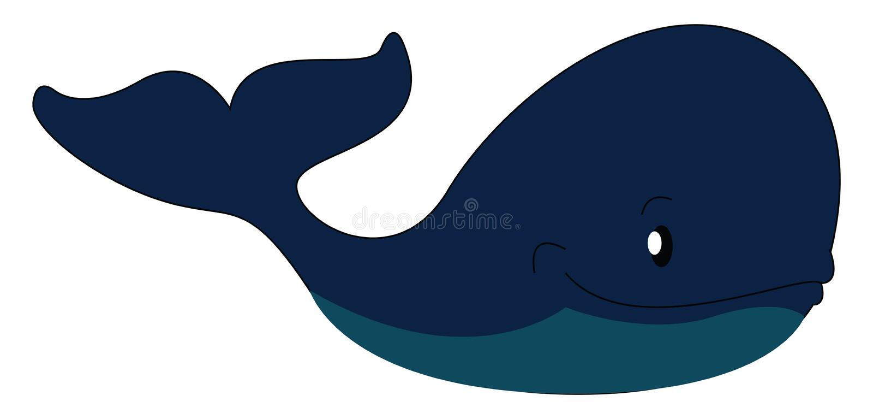 Big blue whale illustration print vector stock illustration