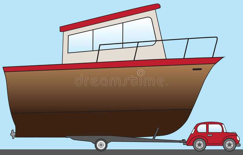 Big Boat With Little Car. Huge cartoon boat is being pulled to the water by a small car stock illustration