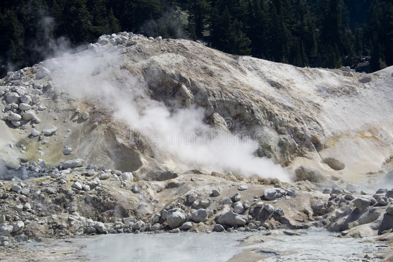 Big Boiler. A hydrothermal vent spewing steam and volcanic gases in Lassen Volcanic National Park stock photography