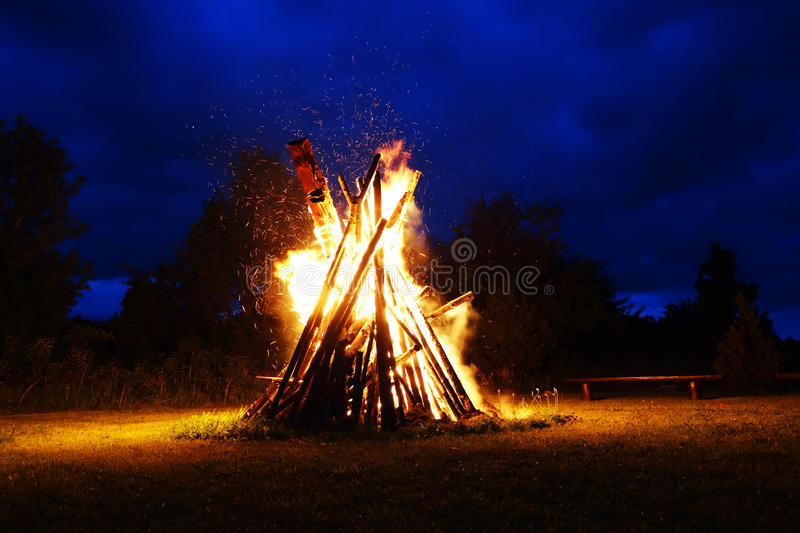 Big bonfire stock photo