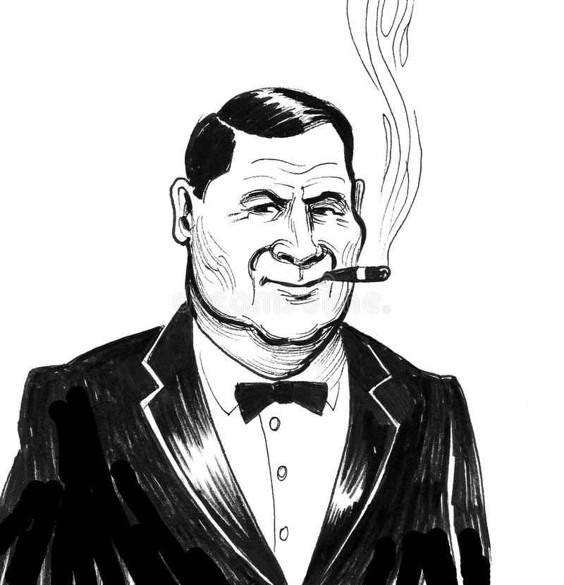 Big boss with a cigar. Retro styled black and white illustration of a serious businessman smoking a cigar stock illustration