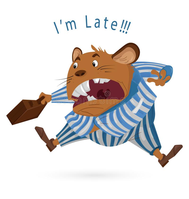 Big Boss mouse late for work Vector cartoon character. Angry worker screeming. Suite dressed. funny illustrations vector illustration