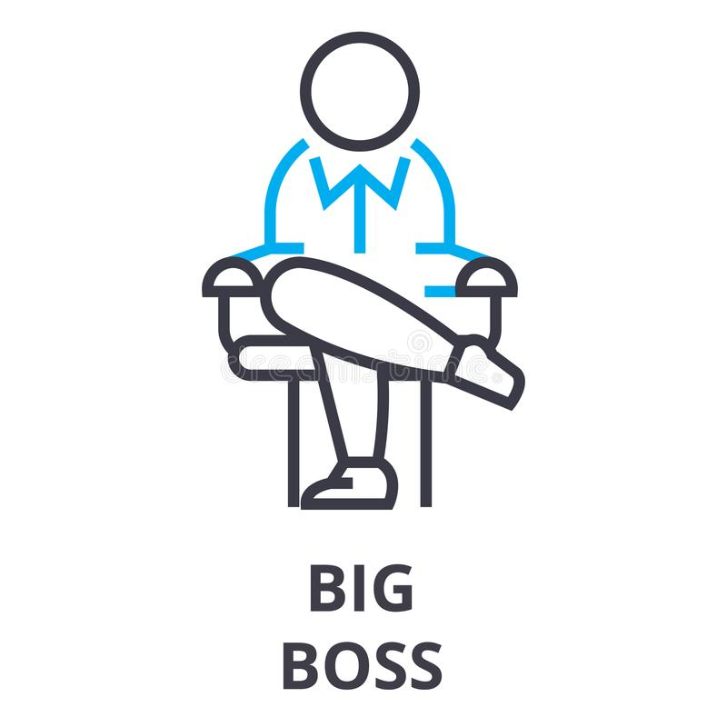 Big boss thin line icon, sign, symbol, illustation, linear concept, vector stock illustration
