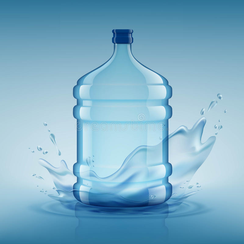 Big bottle with clean water. Plastic container for the cooler. S vector illustration