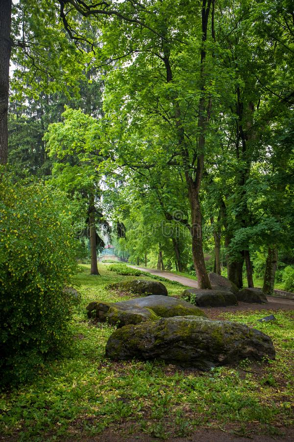 Big boulders of stones in the spring park stock photos