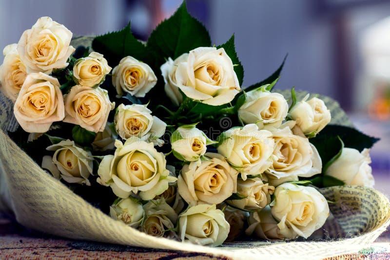 Big Bouquet of Beige Roses.  stock photo