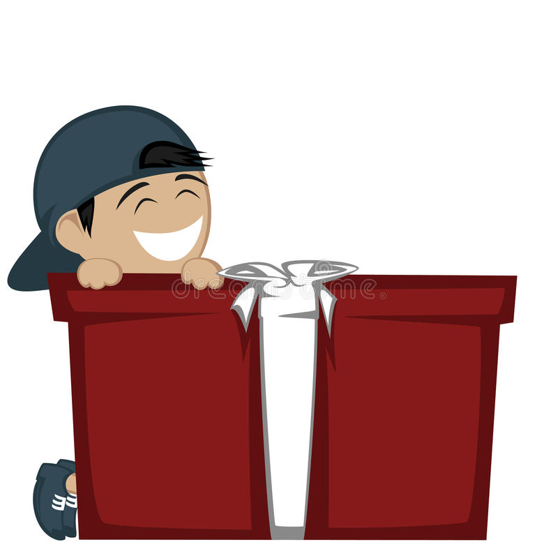 Big box surprise. A black haired boy with a baseball hat smiling with a big gift box royalty free illustration